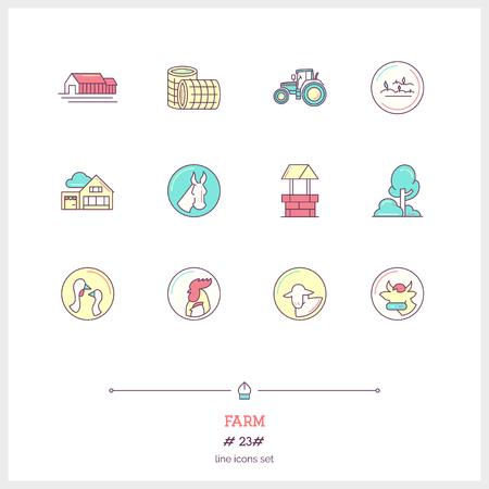 caballo bebe: icono de la l�nea de color conjunto de objetos y elementos agr�colas herramientas.