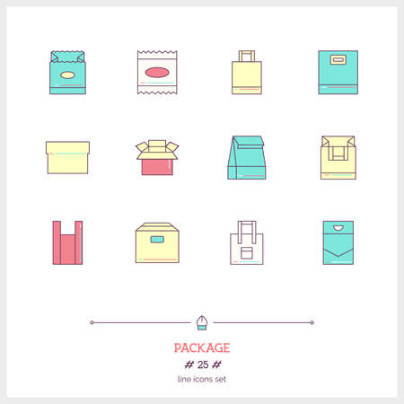 individual color: Color line icon set of boxes and package objects, tools elements. Craft box, paper bag, cotton bag, plastic bag, individual packing. Logo icons vector illustration Illustration