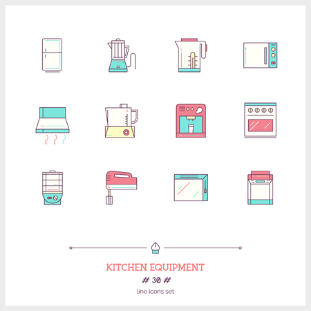 kitchen equipment: Color line icon set of kitchen equipment objects, tools and elements.