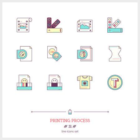 digital printing: Color line icon set of printing process tools elements. Illustration