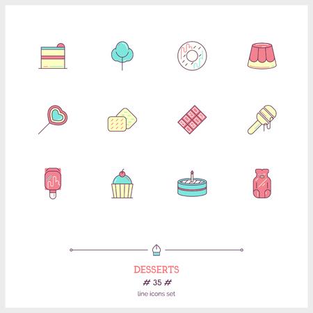 Conjunto De Iconos De Línea De Color De Dulces Y Postres ...