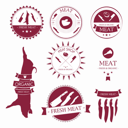 butcher knife: Set of meat shop labels and design elements. Meat lables template.