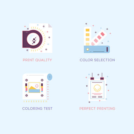 printing industry: Thin line flat design of printing process steps, print design project, printing industry. Illustration