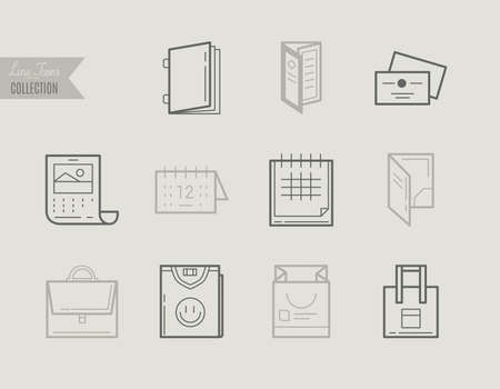 plackard: Flat line icons of Print design products