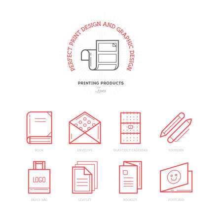 mail icon: Flat line icons of Print design products