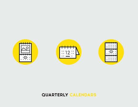 quarterly: Business cards flat illustration Set