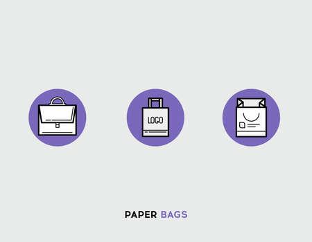 paper bags: Paper bags flat illustration Set