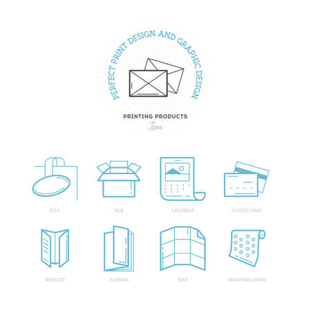package printing: Flat line icons of Print design products