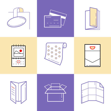 package printing: Flat line icons of Print design products, from pamphlet and booklet to plastic card, calendar, pattern, envelopes, bags and package. Printing industry icons set. Illustration