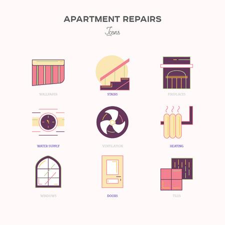 materiales de construccion: Iconos l�nea plana de reparaci�n y construcci�n