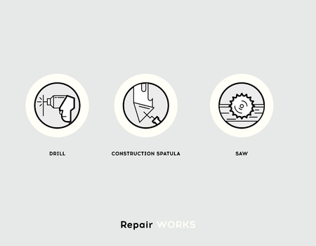 works: Repair Works. Flat Illustration Set of Line Modern Icons for Repair Works and Construction Industry.
