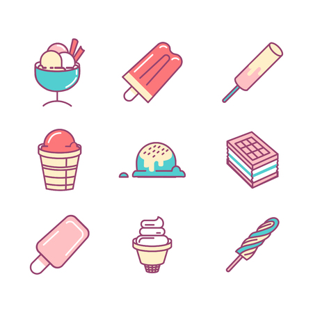 sings: Ice-cream sings set. Thin line art icons. Flat style illustrations isolated on white. Illustration