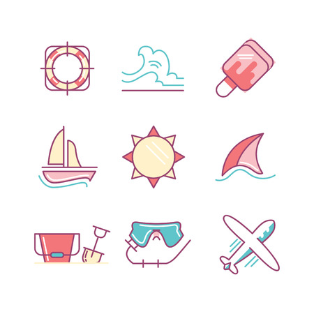 sings: Travel and summer vacation sings set. Thin line art icons. Flat style illustrations isolated on white.