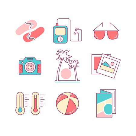 sunglasses recreation: Travel and summer vacation sings set. Thin line art icons. Flat style illustrations isolated on white.