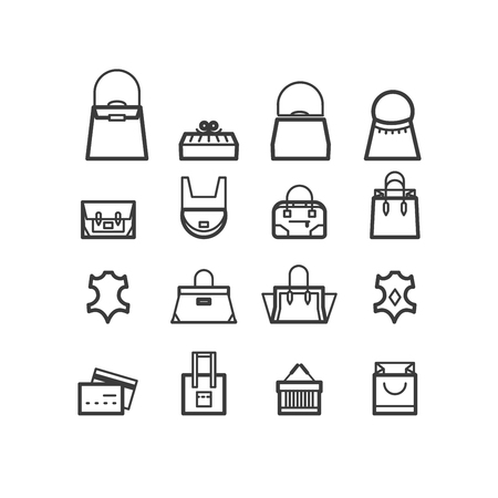 duffel: bags icons. women bags icons, bags shop icons. Icons for design.