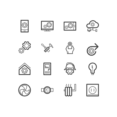 industrialist: Engineering house icons. Engineering and construction icons. design icons. Illustration
