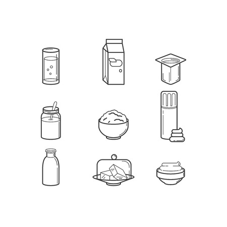 sings: Milk products sings set. Thin line art icons. Flat style illustrations isolated on white. Illustration