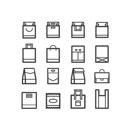 packing material: Package icons. Line icon set of boxes and package objects, tools elements. Craft box, paper bag, cotton bag, plastic bag, individual packing. Bags and package icons. design icons.