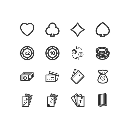 stroke of luck: Poker icons. Poker and casino icons. design icons. Illustration