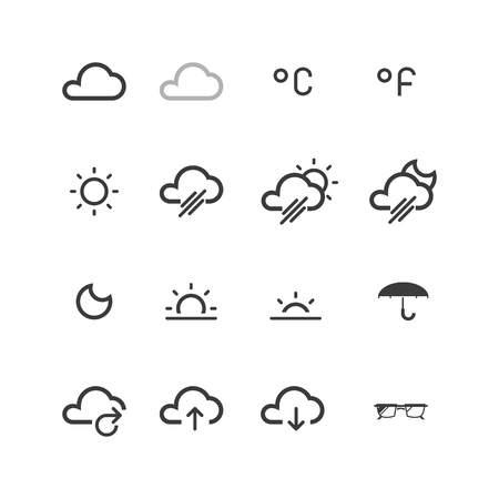 morning night: Weather, Temperature and more thin line icons set, flat design, vector illustration.