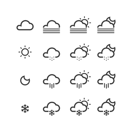 uv index: Weather, Temperature and more thin line icons set, flat design, vector illustration.