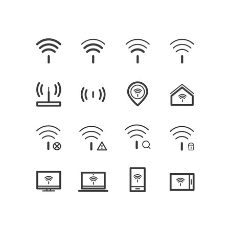wifi access: Wifi wireless local network internet connection access points icons. Wifi and internet connection icons. design icons.