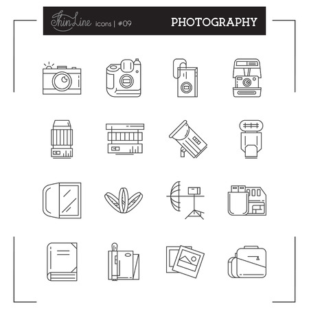 retouch: Photographic Equipment and more thin line icons set