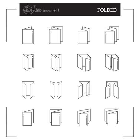 Folded, Booklet, Printing Objects and more thin line icons set