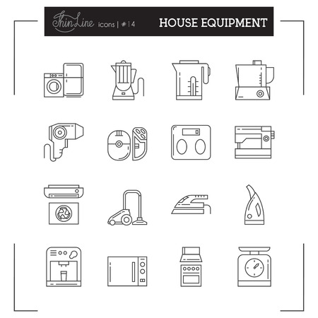epilator: Home Electronics, Appliances, Kitchen Electronics and more thin line icons set, flat design, vector illustration. Illustration