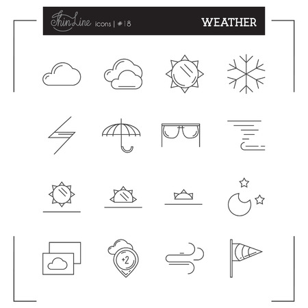 Weather, Temperature and more thin line icons set