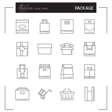 bag icon: Package icons. Bags and Package icons. Set thin line icons for design projects. Illustration