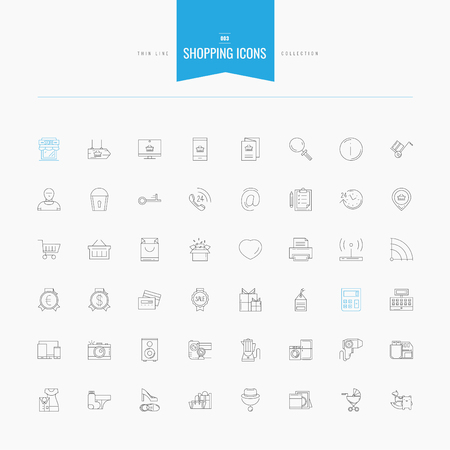 package printing: Shopping, retail, delivery, gift card, discount and more. Thin and line icons set, flat design, vector illustration