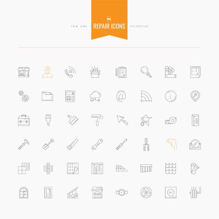 Reparación, diseño de interiores, accesorios y suministros iconos conjunto. iconos delgadas y de línea configurados, diseño plano, ilustración vectorial. Línea para web y móvil.