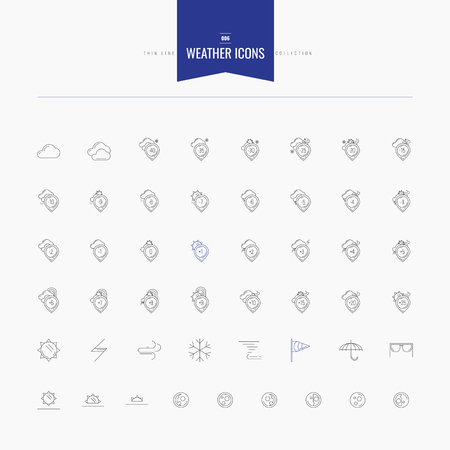 uv index: weather and temperature icons set. Thin and line icons set, flat design, vector illustration. line icons set for web and mobile.