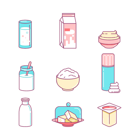 milk products: Milk products sings set. Illustration