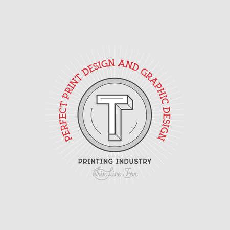 quarterly: Printing industry Hand Drawn Logo Template. Illustration