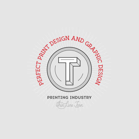 prepress: Printing industry Hand Drawn Logo Template. Illustration
