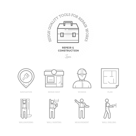 planing: Flat Line Icons of Repair and Construction, from working tools and Measurement Instruments to Materials, Repair Shop, tool box, Planing, Workers and navigation Construction Industry Icons.