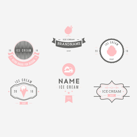shilouette: Set of ice-cream shop labels, and design elements. Vintage collection of different ice cream elements. Cold desserts and ice cream objects. elements for design. Ice cream silhouettes.