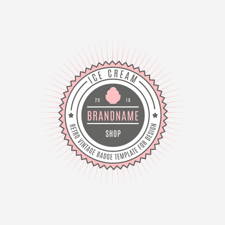 Ice cream Hand Drawn Design Element in Vintage Style for Logotype, Label, Badge and other design. Ice cream shop retro vector illustration. Illustration