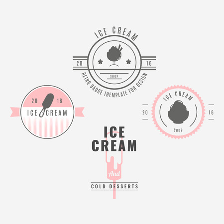 shilouette: Set of ice-cream shop labels, logotypes and design elements. Vintage collection of different ice cream elements. Cold desserts and ice cream objects. Vector elements for design. Ice cream silhouettes.
