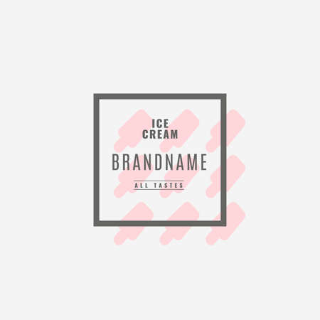 shilouette: Ice cream Hand Drawn Design Element in Vintage Style for Logotype, Label, Badge and other design. Ice cream shop retro vector illustration. Illustration