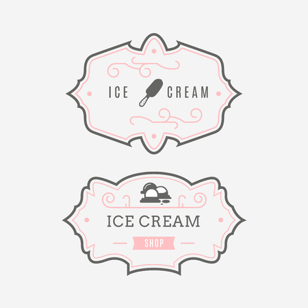 shilouette: Set of ice-cream shop labels and design elements. Vintage collection of different ice cream elements. Cold desserts and ice cream objects. elements for design. Ice cream silhouettes.
