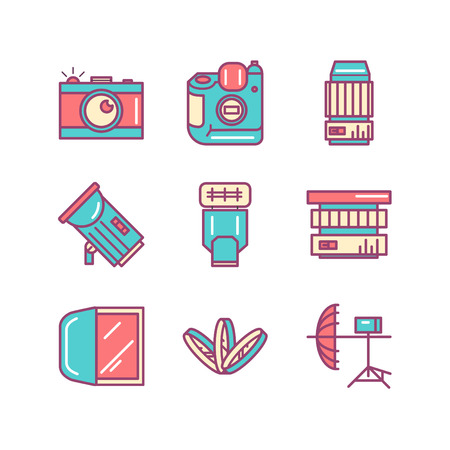 retouch: Photography sings set. Thin line art icons. Flat style illustrations isolated on white. Illustration