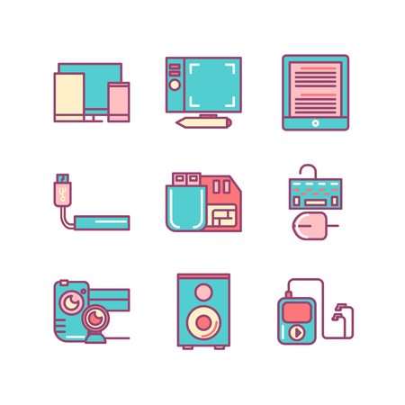 Technology sings set. Thin line art icons. Flat style illustrations isolated on white.