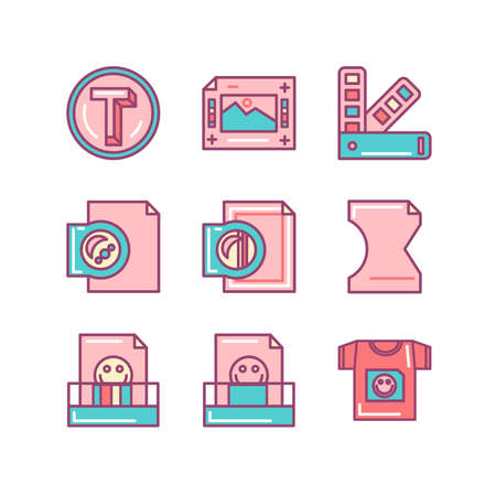 Printing process sings set. Thin line art icons. Flat style illustrations isolated on white.