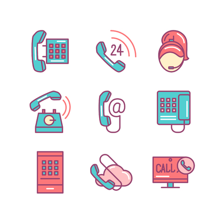 Phones sings set. Thin line art icons. Flat style illustrations isolated on white.