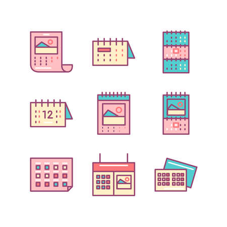 sings: Calendar sings set. Thin line art icons. Flat style illustrations isolated on white. Illustration