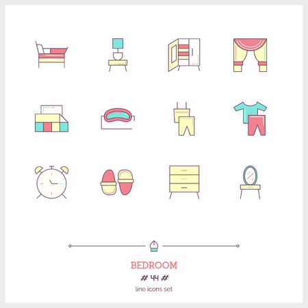 Color line icon set of bad room icons set. Interior and textile objects. Icons for web and mobile app. Illustration