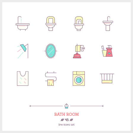 household goods: Color line icon set of bath room icons set. Shop furniture, household goods and appliances objects. Icons for web and mobile app.